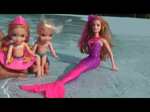 Elsa And Anna's Kids Take Swimming Lessons From Romy The Mermaid. Huge Pool . Underwater  Filming