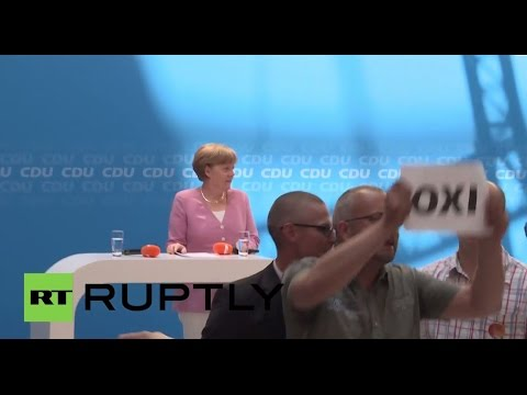 "Germany: ""Oxi!"" Merkel interrupted by Greek solidarity protesters"