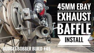 Budget Bobber Build #45 | 45mm Ebay Baffle Install into Ebay Slash Cut Exhaust | Virago XV250