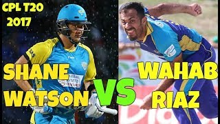 Wahab Riaz vs Shane Watson Battle In CPL 2017, September 1 , BT vs STS - Watch Who Wins Here?
