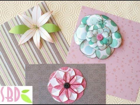 Tutorial: 3 Fiori di carta fai da te per Scrapbooking – Three paper flowers