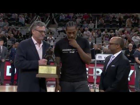 Kawhi Leonard Receives Defensive Players of the Year Award