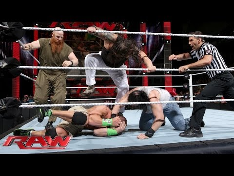 John Cena Vs. The Wyatt Family - Wwe App Vote Match: Raw, April 21, 2014 video