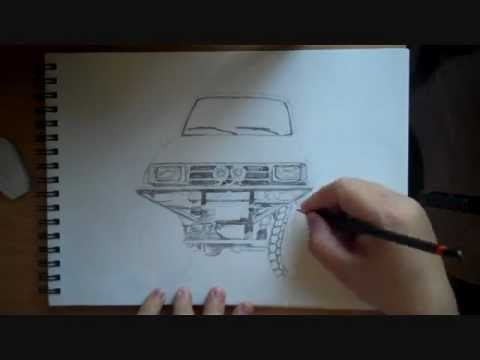 Pencil Drawing Toyota Pick up