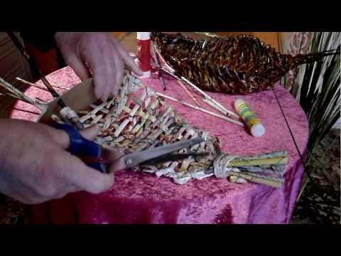 Basket Obstschale ( Teil  2 )  mit einfacher Flechttechnik aus Papierröllchen