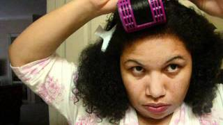 dominican blow out on natural hair.wmv