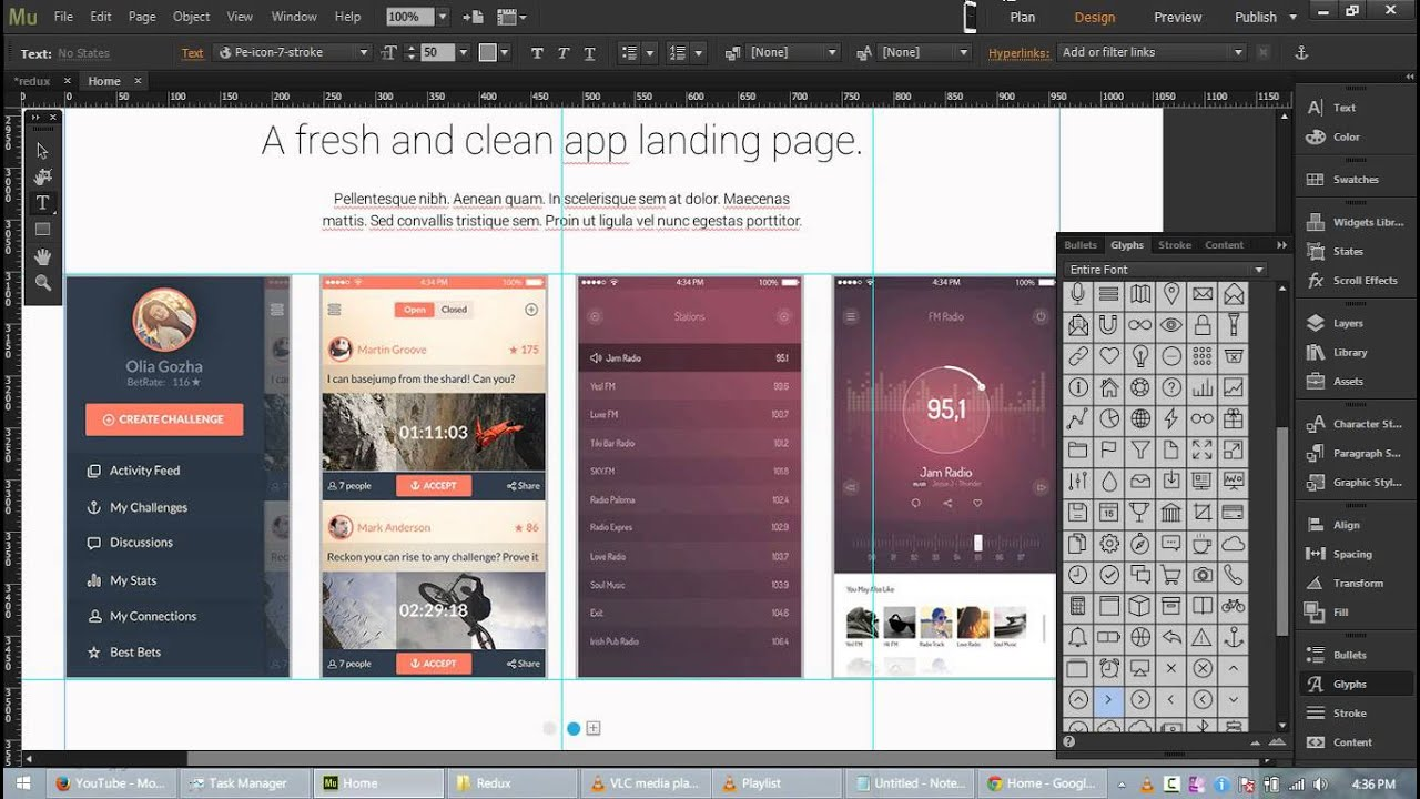 Redux - Free App Landing Page Template for Adobe Muse CC - YouTube