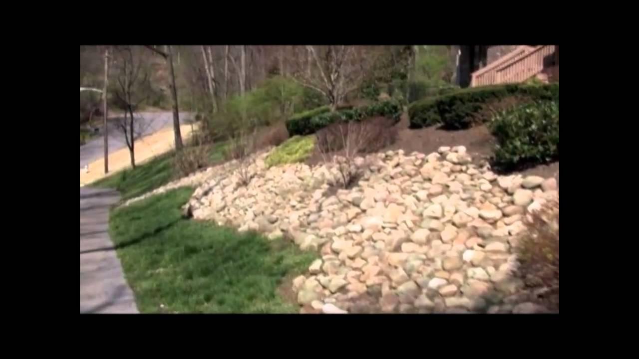 Backyard Hill Removal :  stone and shrubs Nashvillelandscapingslopehillmp4  YouTube