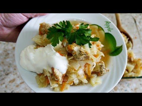 Капуста с картошкой и мясом в духовке.  Самый простой и вкусный рецепт