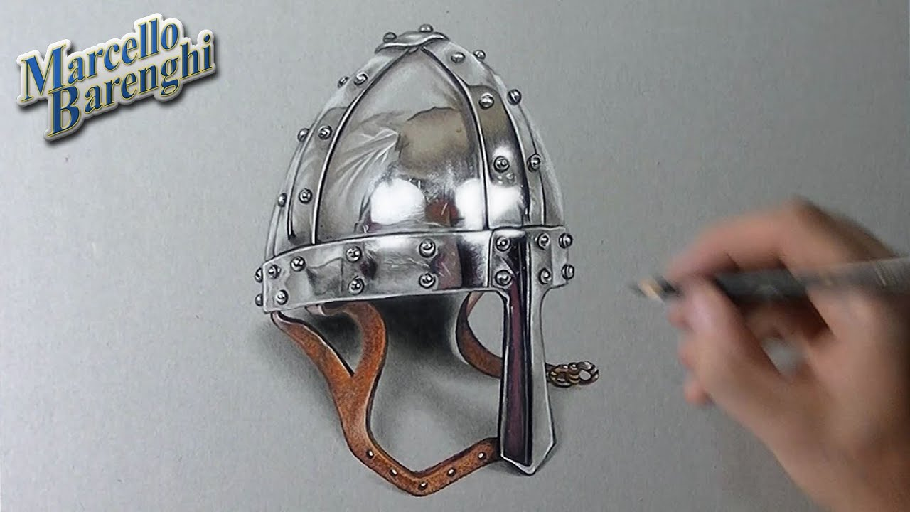 Drawing Time Lapse  Realistic Chrome Helm With Leather