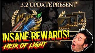 INSANE V3.2 UPDATE REWARDS! TRANSCENDENT SUMMONS + 6* LEGENDARY GEAR TICKET! HEIR OF LIGHT (HOL)