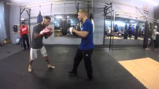 Cody Garbrandt  pad work with UfC bantam weight champion Tj Dillashaw