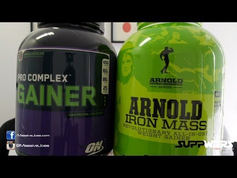Arnold Iron MASS v Optimum Nutrition Pro Complex Gainer Supplement - MassiveJoes.com SUPPWARS