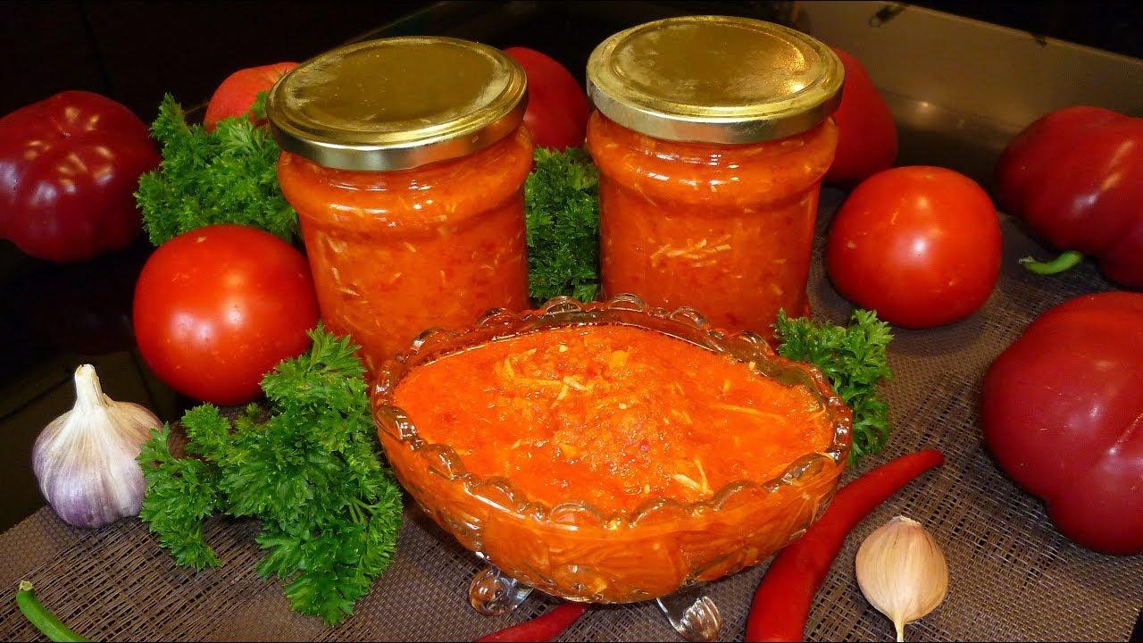 Рецепт: Аджика из помидор с яблоками на зиму острая 85