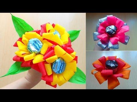Цветы из бумаги и конфет мастер класс для начинающих
