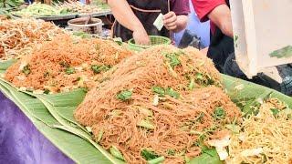 Bangkok Street Food. Cooking Five Types of Noodles. Thailand