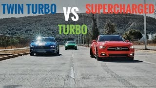 Mustang Twinturbo vs Mustang Supercherged vs TTRS Stage 2