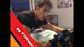 Toni Elias training with MotoGP simulator at Motorland