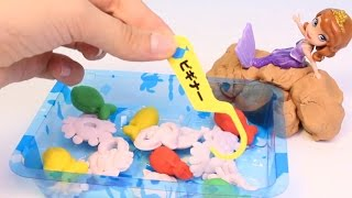 Kracie あそぼうさかなつりFishing Game Candy Sofia The First Disney Princess Play Doh Fish