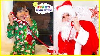 Real Santa Claus Calling Ryan and Family Fun Kids decorating Christmas Tree!!!