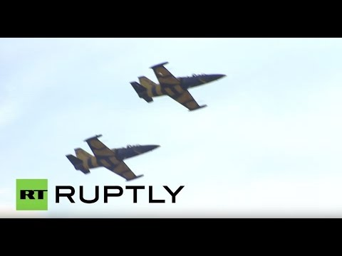 Russia: Latvia's Baltic Bees aerobatics team dazzle the crowds at Maks-2015
