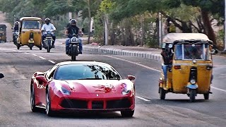 Ferrari's in INDIA - 2018 - Reactions, Sounds & more