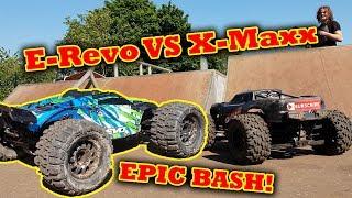 $5000 RC Cars VS Skatepark EpIC BaSh - Traxxas X-Maxx E-Revo HPI Savage FLUX