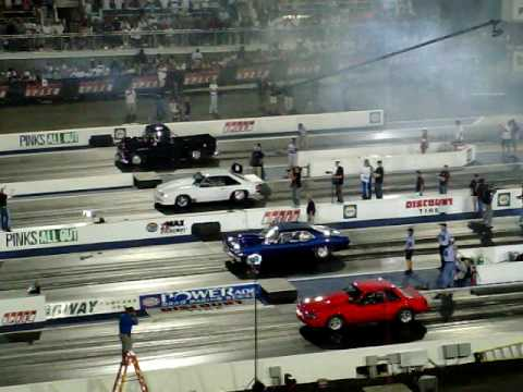 4 wide drag racing for Pinks All Out at Zmax Dragway VII Video