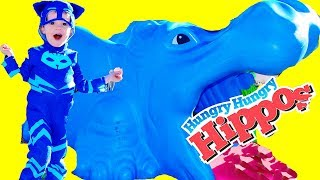 PJ MASKS Play Time Gekko Catboy Find Giant Hungry Hungry Hippos