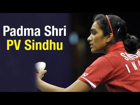 Badminton player PV Sindhu awarded Padma Shri award by President Pranab Mukherjee
