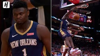 Zion Williamson DESTROYS THE RIM! First Poster Dunk in the NBA | October 7, 2019