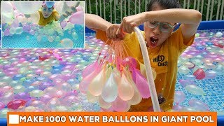 Make A 1000 Water Ballons In Giant Pool