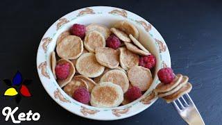Mini Pancake Cereal - Silver Dollar Pancakes - Sugar Free, Dairy Free | Keto Breakfast Recipe