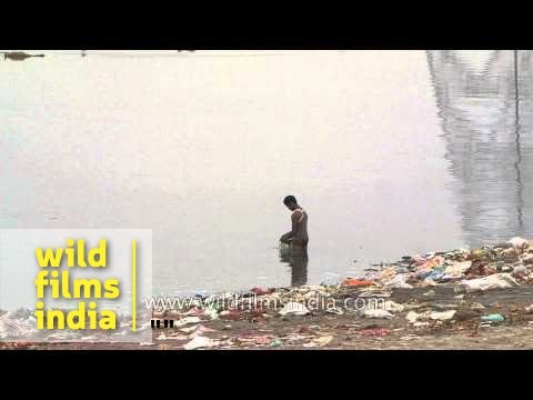 Religous waste on the banks of river Yamuna - Delhi