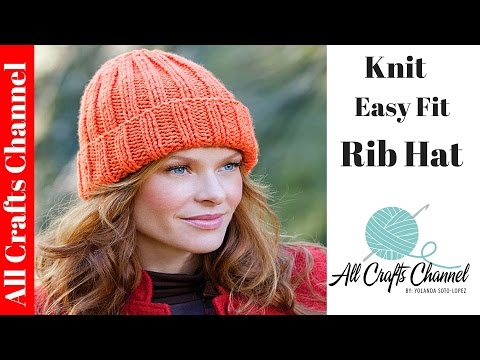 How to #Knit - Easy Fit Ribbed Hat - YouTube