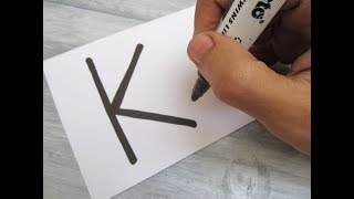 """How to turn Letter """"K"""" into a Cartoon BOOK ! Fun with Alphabets Drawing for kids"""