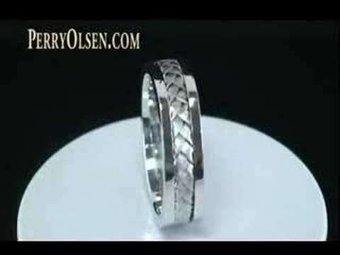 14K White Gold Handmade Braided Fancy Mens Wedding Band Ring
