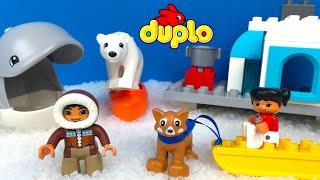 Stop Motion Lego Duplo Arctic with Eskimo Whale Dog Polar Bear Fish Sled Kayak and Polar Animals