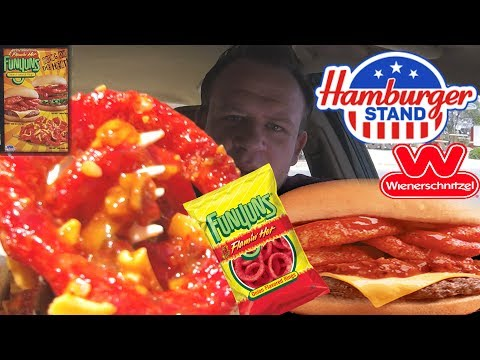Hamburger Stand Flamin' Funyuns ☆CHILI CHEESEBURGER & CHILI CHEESE RINGS☆ Food Review!!!