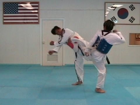 Taekwondo Back Kick vs Side Step Counter (taekwonwoo) Image 1