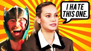 BRIE LARSON HATES CHRIS HEMSWORTH! AVENGERS ENDGAME INTERVIEW - CAPTAIN MARVEL VS THOR!
