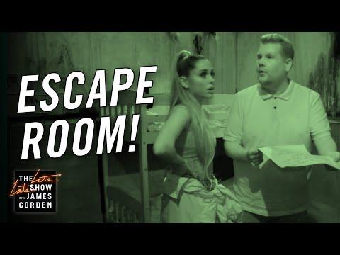 James Corden & Ariana Grande Visit an Escape Room