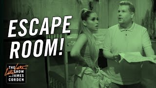 James Corden  Ariana Grande Visit an Escape Room