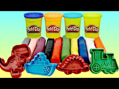 Learn Animal Sounds, Colors with Play-doh, Cookie Cutter, Stamper, Dinosaurs, Cars, Train, Ship