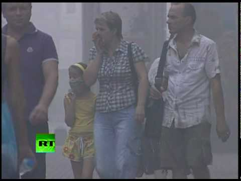 Moscow's face a gas mask, poisoned air has city choking Video