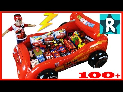 100+ cars toys GIANT SURPRISE OPENING Disney Pixar Lightning McQueen 100+ Тачки МОЛНИЯ МАКВИН
