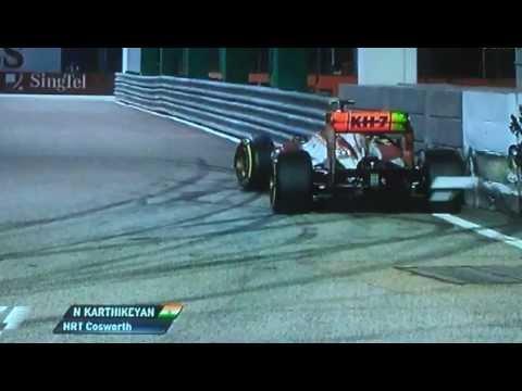 Formule 1  Crash Narain Karthikeyan Singapore 23-09-12