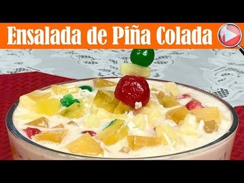 Ensalada Navideña de Piña Colada - Postre Navideño - Recetas en Casayfamiliatv