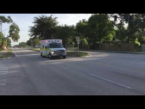 RURAL METRO EMS AMBULANCE RESPONDING ON CONWAY ROAD IN ORLANDO, FLORIDA.