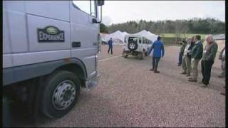 Land Rover Defender Towing a 12 Tonne Truck.